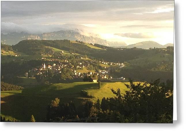 Swiss Photographs Greeting Cards - Santis at Sunset Greeting Card by Manda Koepp-Piesche
