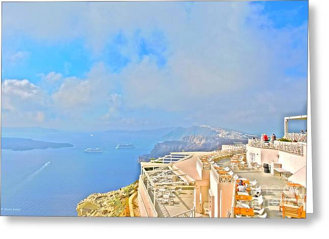 Blue Grapes Greeting Cards - Santo Winery, Santorini Greeting Card by Shelia Kempf