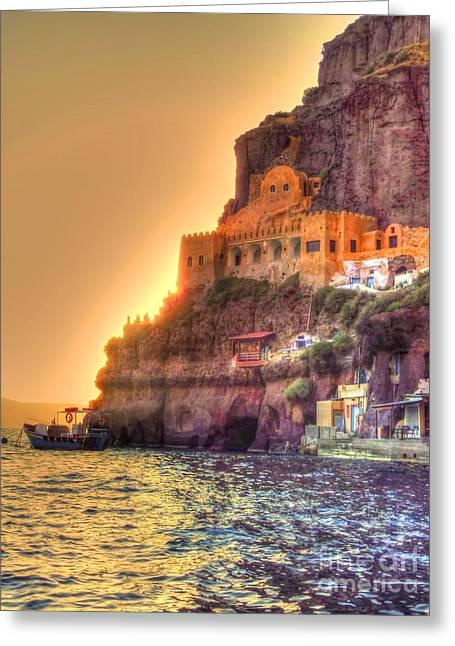 Ocean. Reflection Greeting Cards - Santorini at Sunset Greeting Card by Michael Garyet