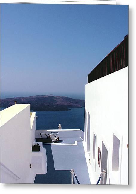 Santorini Blue Greeting Card by Julie Palencia