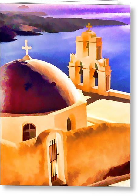Religion Greeting Cards - Santorini Church Greeting Card by Dennis Cox WorldViews