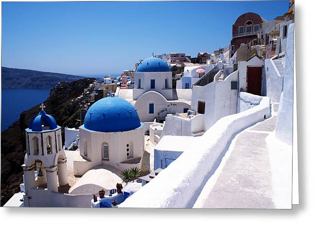 Santorini churches Greeting Card by Paul Cowan