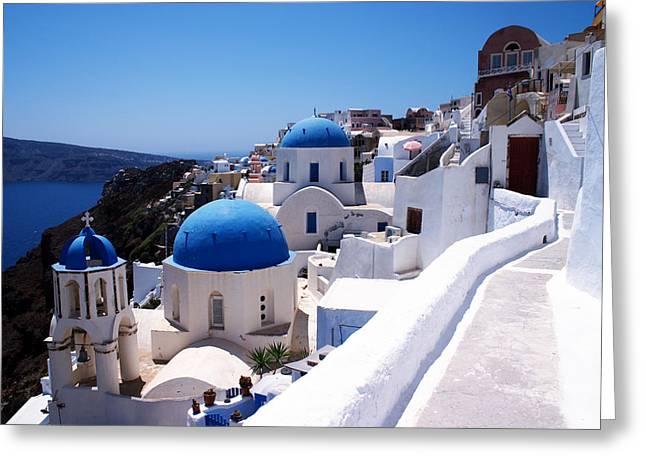 Santorini churches Greeting Card by Paul Cowan