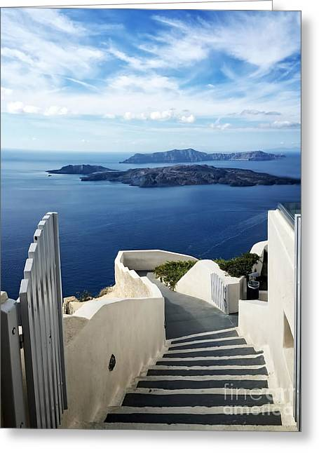 Santorini Greeting Card by HD Connelly
