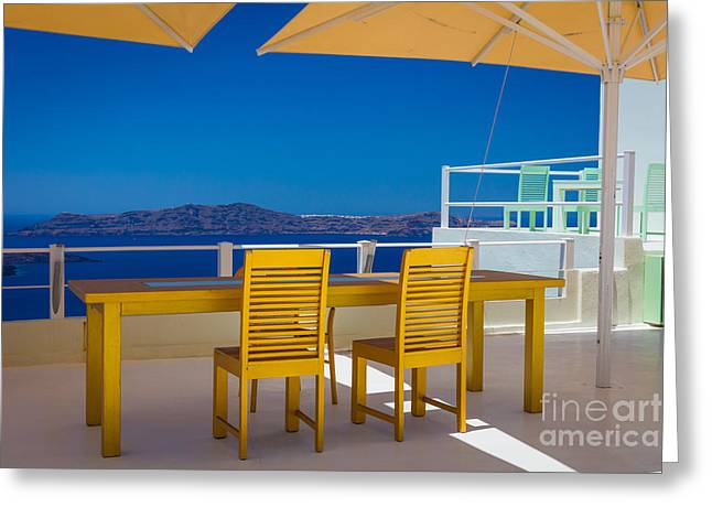 Aegean Sea Greeting Cards - Santorini Patio Greeting Card by Inge Johnsson