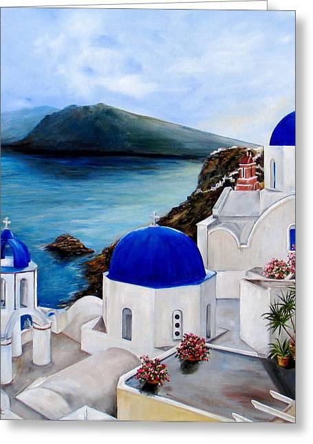 Santorini Greeting Card by Patricia DeHart
