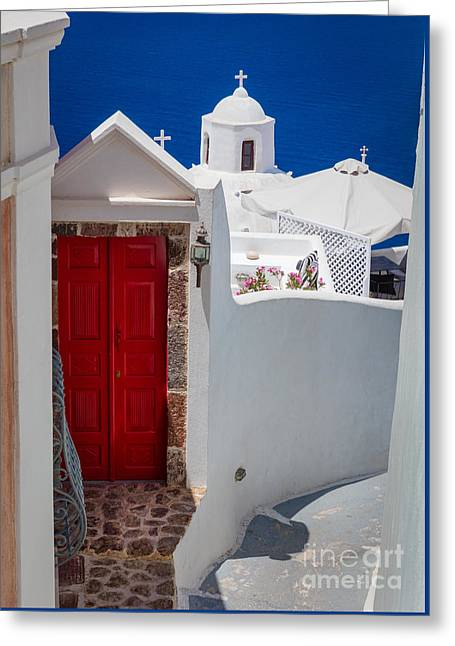 Aegean Sea Greeting Cards - Santorini Red Door Greeting Card by Inge Johnsson