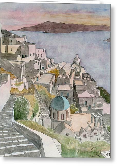 Santorini Greeting Card by Rod Jones