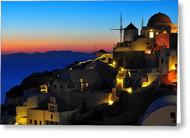 Santorini Greeting Cards - Santorini Sunset Greeting Card by Ian Stotesbury