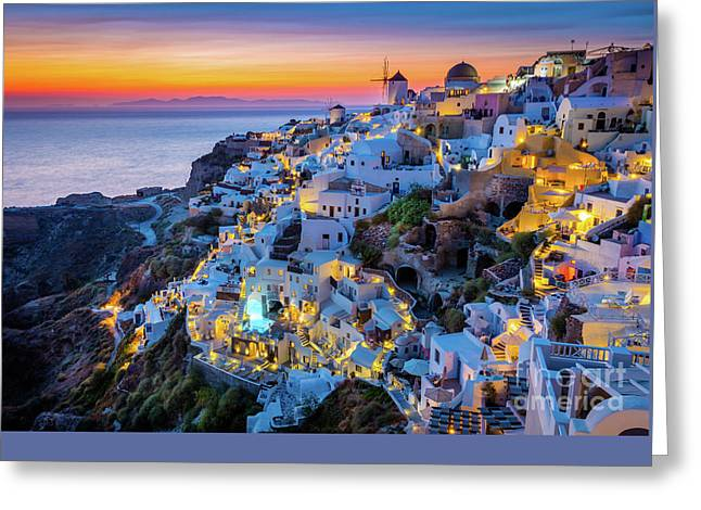 Ocean Landscape Greeting Cards - Santorini Sunset Greeting Card by Inge Johnsson