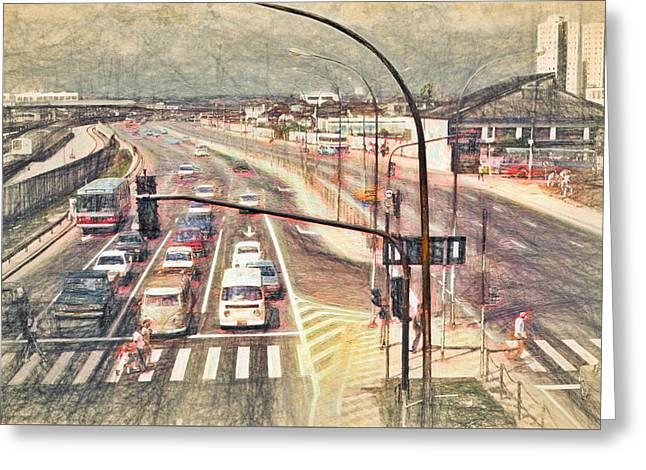 Crosswalk Greeting Cards - Sao Paulo Traffic - 1982 Greeting Card by Steve Ohlsen