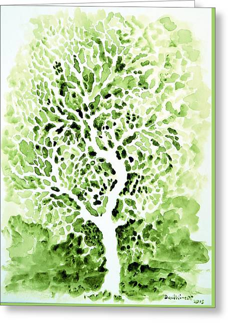 Abstractions Greeting Cards - Sap Green Greeting Card by David Wimsatt