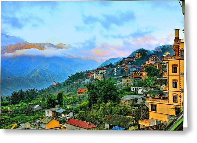 Chuck Kuhn Greeting Cards - Sapa Village Greeting Card by Chuck Kuhn
