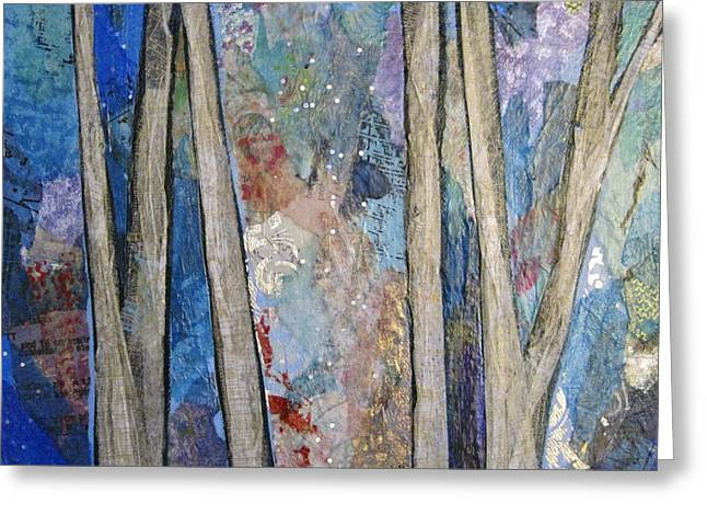 Tree Silhouette Greeting Cards - Sapphire Forest I Greeting Card by Shadia Zayed