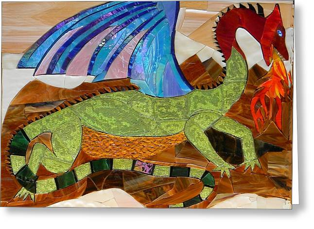 Fire Glass Greeting Cards - Sapphire The Magic Dragon Greeting Card by Charles McDonell