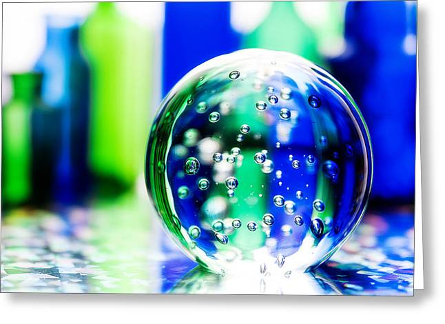 Fine Bottle Greeting Cards - Sapphires and Emeralds III - Square Greeting Card by Jon Woodhams