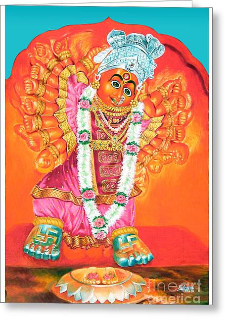 Best Sellers -  - Goddess Durga Greeting Cards - Saptashrungi Devi Nasik Maharashtra Greeting Card by Kalpana Talpade Ranadive