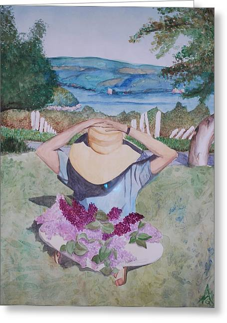 Keuka Paintings Greeting Cards - Sara Beth Greeting Card by Abigail Gomez