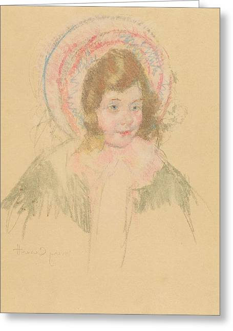 Cassatt Greeting Cards - Sara Wearing A Bonnet And Coat Greeting Card by Mary Cassatt