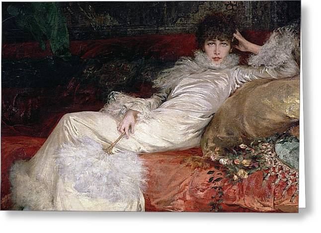 Cushion Greeting Cards - Sarah Bernhardt Greeting Card by Georges Clairin