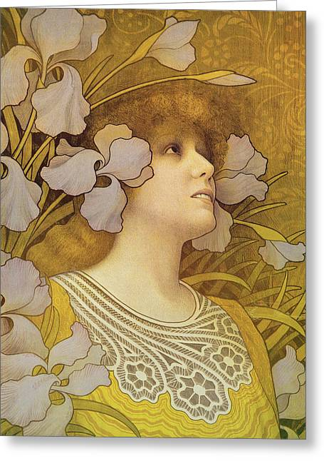 Muted Paintings Greeting Cards - Sarah Bernhardt Greeting Card by Paul Berthon