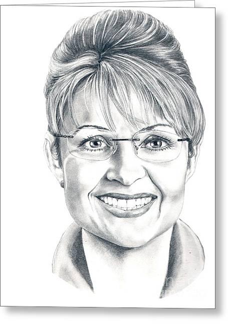 Sarah Greeting Cards - Sarah Palin by Murphy Art. Elliott Greeting Card by Murphy Elliott