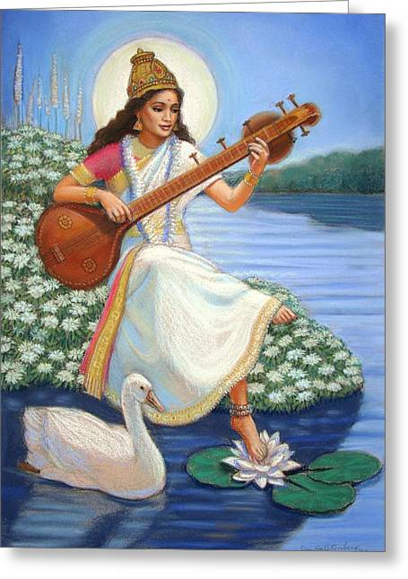 Hindu Goddess Greeting Cards - Sarasvati Greeting Card by Sue Halstenberg