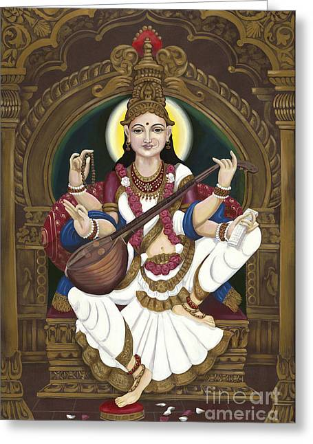 Hindu Goddess Greeting Cards - Saraswati Greeting Card by Edward Williams