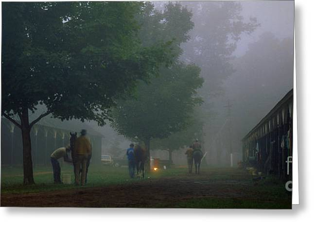 Morning Race Greeting Cards - Saratoga Morning Greeting Card by Marc Bittan