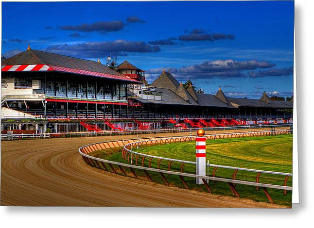 Race Horse Greeting Cards - Saratoga Race Track Greeting Card by Don Nieman