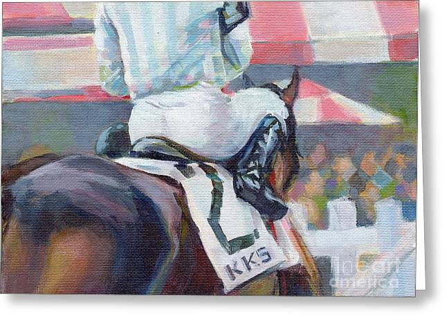 Horse Racing Paintings Greeting Cards - Saratoga Stripes Greeting Card by Kimberly Santini