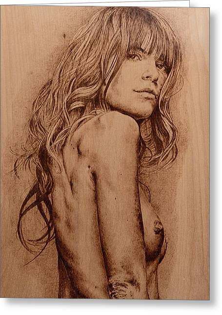 Nude Pyrography Greeting Cards - Sargasso Greeting Card by Sergey Zernov