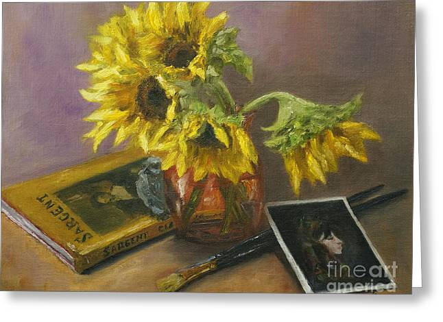 Greeting Cards - Sargent and Sunflowers Greeting Card by Lisa  Spencer