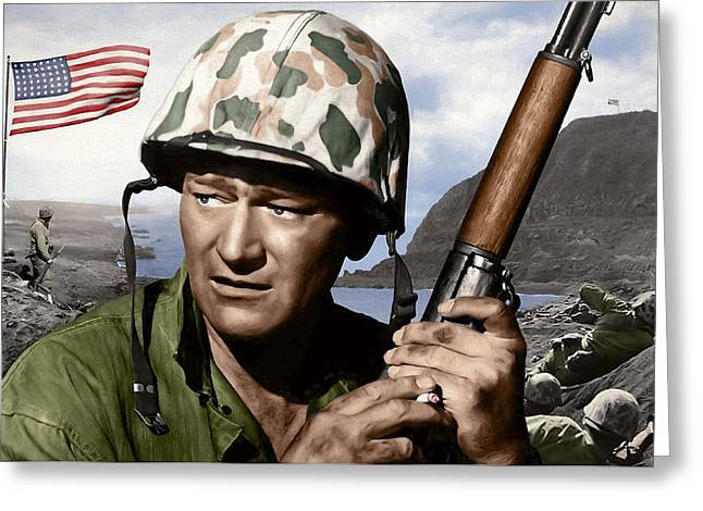 Star Valley Mixed Media Greeting Cards - Sargent Stryker U S M C  Iwo Jima Greeting Card by Daniel Hagerman