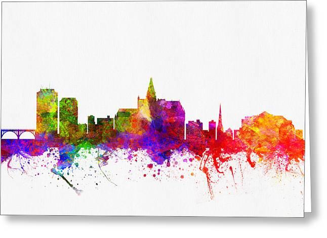 Saskatchewan Greeting Cards - Saskatoon Saskatchewan skyline Color02 Greeting Card by Aged Pixel