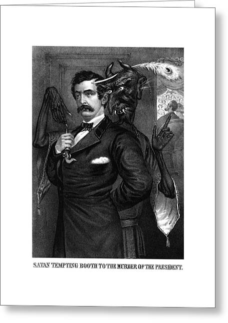 American Civil War Drawings Greeting Cards - Satan Tempting John Wilkes Booth Greeting Card by War Is Hell Store