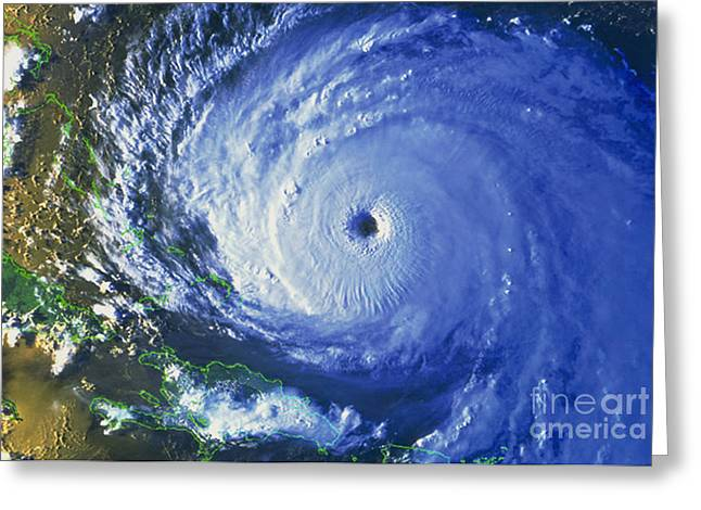Noaa Greeting Cards - Satellite Image Of Hurricane Floyd Greeting Card by NASA / Science Source