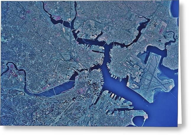 Satellite View Greeting Cards - Satellite View Of Boston, Massachusetts Greeting Card by Stocktrek Images