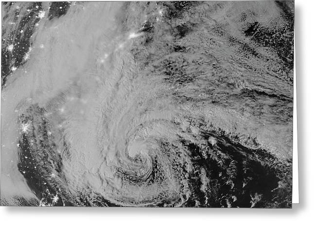Superstorm Sandy Greeting Cards - Satellite View Of Hurricane Sandy Greeting Card by Stocktrek Images