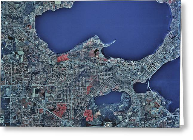 Satellite View Greeting Cards - Satellite View Of Madison, Wisconsin Greeting Card by Stocktrek Images
