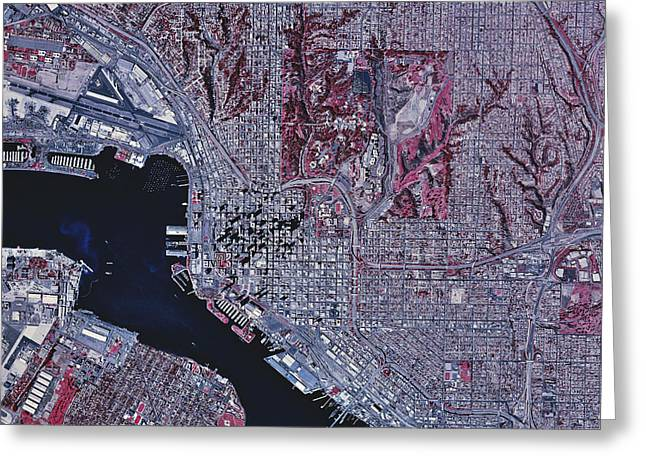 Urban Images Greeting Cards - Satellite View Of San Diego, California Greeting Card by Stocktrek Images