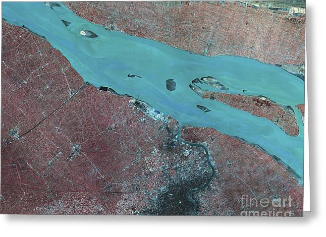 Satellite View Greeting Cards - Satellite View Of Shanghai, China Greeting Card by Stocktrek Images
