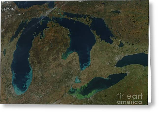 Satellite View Of The Great Lakes, Usa Greeting Card by Stocktrek Images