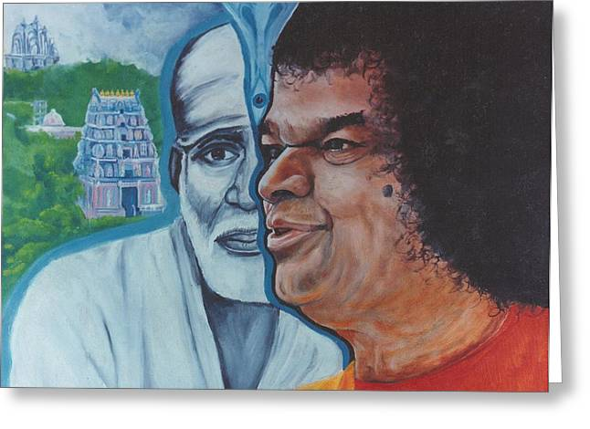 Baba Paintings Greeting Cards - Sathya Sai Baba- Shirdi Sai Baba Greeting Card by Anne Provost