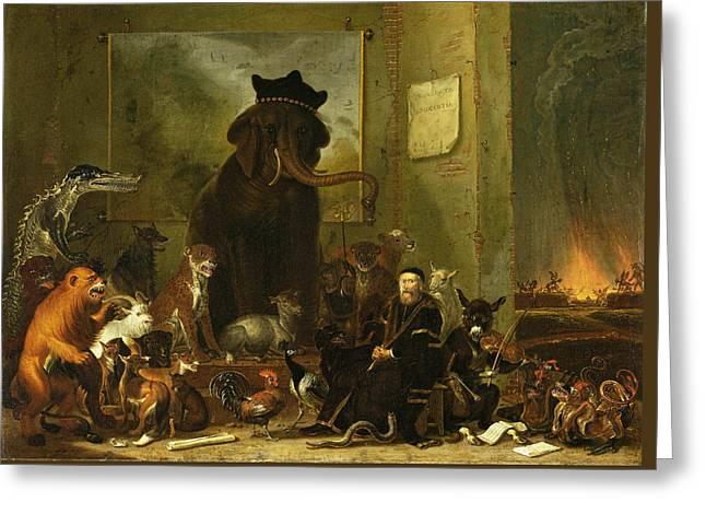 Golden Leopard Greeting Cards - Satire on the trial of Johan van Oldenbarneveldt Greeting Card by Cornelis Saftleven