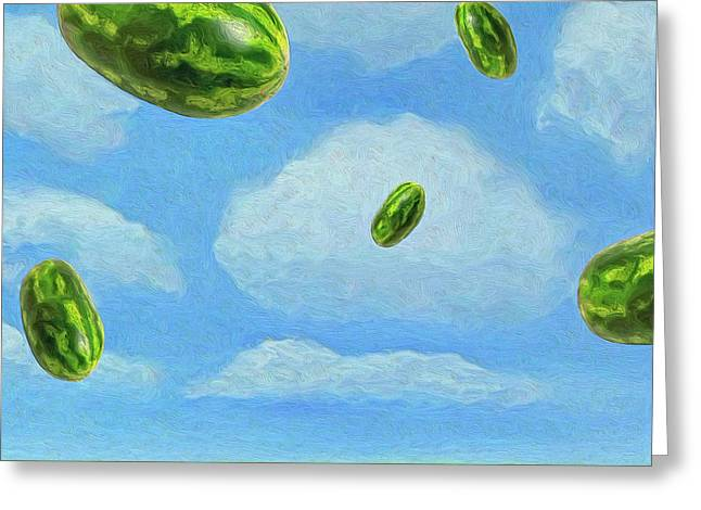 Watermelon Greeting Cards - Saturday Afternoon Greeting Card by Dominic Piperata