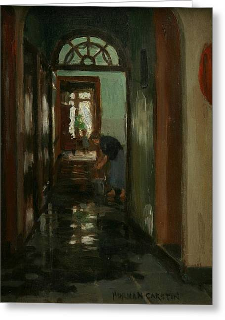 Saturday  An Interior View Of Garstin's Home  Greeting Card by Norman Garstin