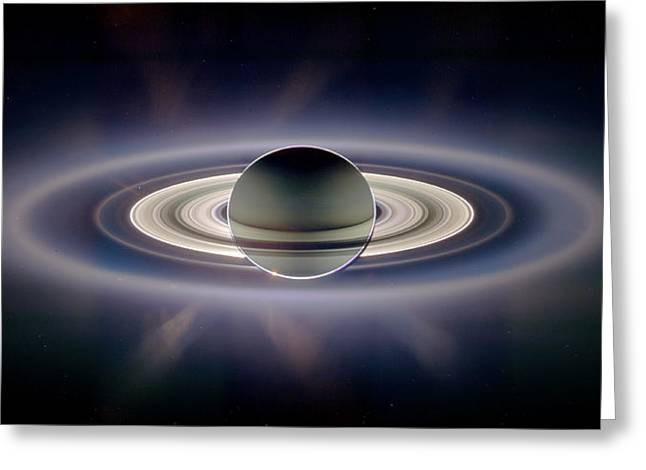 Ring Systems Greeting Cards - Saturn Silhouetted, Cassini Image Greeting Card by Nasajplspace Science Institute