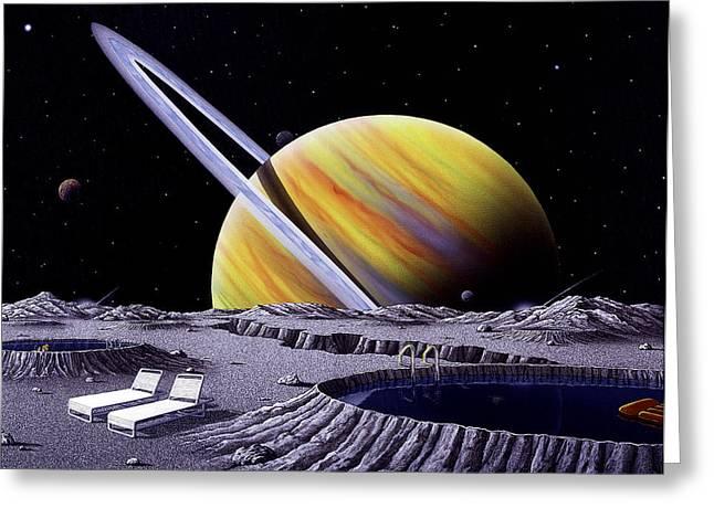 Saturn Spa Greeting Card by Snake Jagger