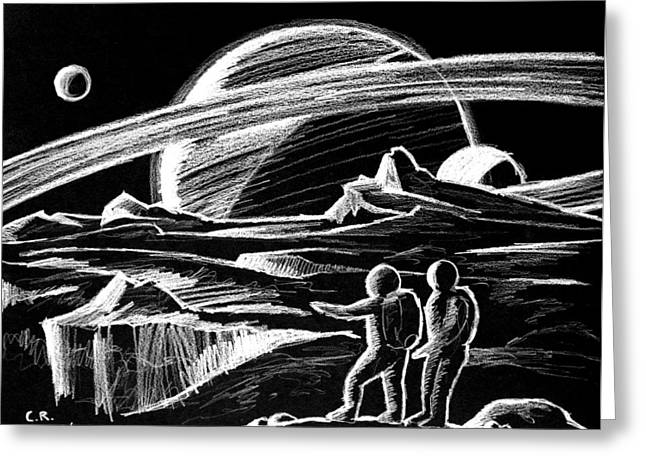Saturn Visitors Greeting Card by Daniel House
